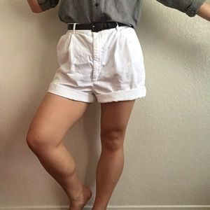 Vintage Lands' End White High Waist Bermuda Shorts